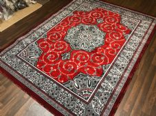 Modern Rug Approx 8x6ft 180x240cm Woven Thick Sale Top Quality Grey/Red Bargains